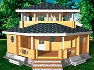"""Проект дома из бревна оцилиндрованного  с балконом и крыльцом """"ДО№2"""" Цена: договорная"""