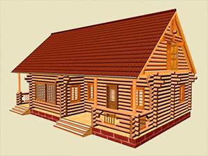 Проект дома из оцилиндрованного бревна ДО№3 Цена: договорная