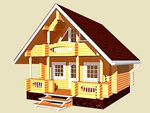 """Проект дома из оцилиндрованного бревна с крыльцом и балконом """"ДО№5"""" Цена: договорная"""