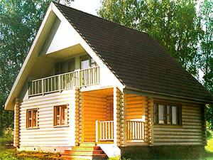 """Проект дома из оцилиндрованного  бревна с мансардой и балконом """"ДО№7"""" Цена: договорная"""