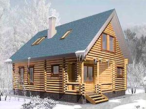 """Проект дома из бревна оцилиндрованного с мансардной крышей """"ДО№9"""" Цена: договорная"""