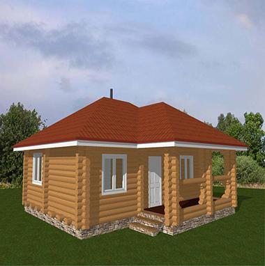 Проект бани из бревна с крыльцом БО№12 Цена: договорная
