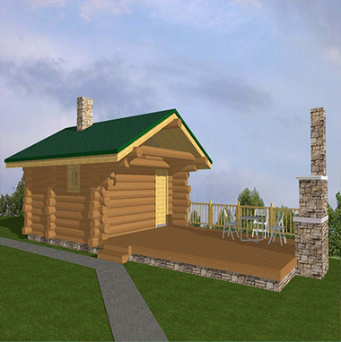 Проект бани из бревна с открытой террасой БО№13 Цена: договорная