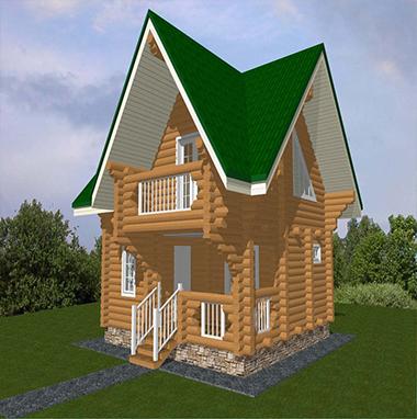 Проект бани из бревна с балконом БО№28 Цена: договорная