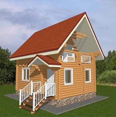 Проект бани из бревна с балконом и крыльцом БО№31 Цена: договорная