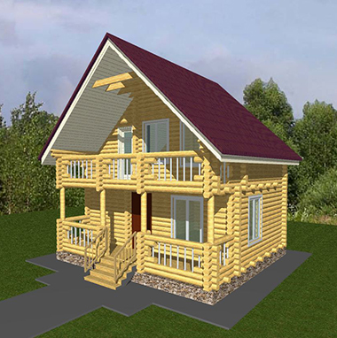 Проект бани из бревна с балконом БО№41 Цена: договорная