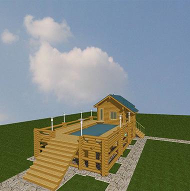 Проект бани из бревна с бассейном БО№42 Цена: договорная