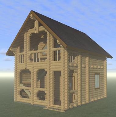 Проект 2-этажной бани из бревна БО№45 Цена: договорная