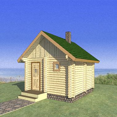 Проект маленькой бани из бревна БО№48 Цена: договорная
