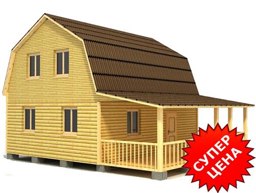 Проект дома из строганного бруса с крыльцом ДС №31 Цена: договорная