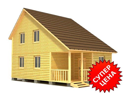 Проект 2-этажного дома из бруса ДС №40 Цена: договорная