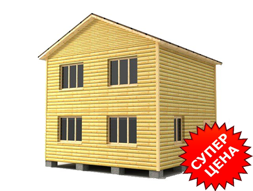 Проект 2-этажного дома из бруса ДС №43 Цена: договорная