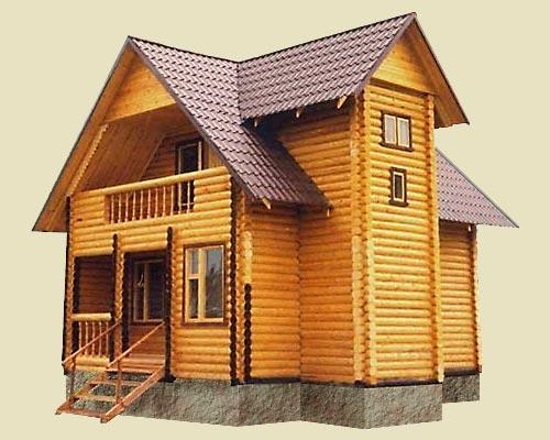 """Проект дома из оцилиндрованного бревна с балконом """"ДО№1″"""