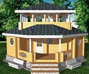 """Проект дома из бревна оцилиндрованного с балконом и крыльцом """"ДО№2″"""