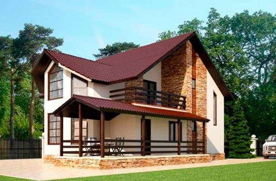Проект дома каркасного типа с террасой ДК№10 Цена: 1263000 руб.