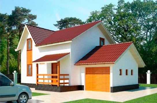 Проект дома каркасного типа с гаражом ДК№12 Цена: 1277000 руб.