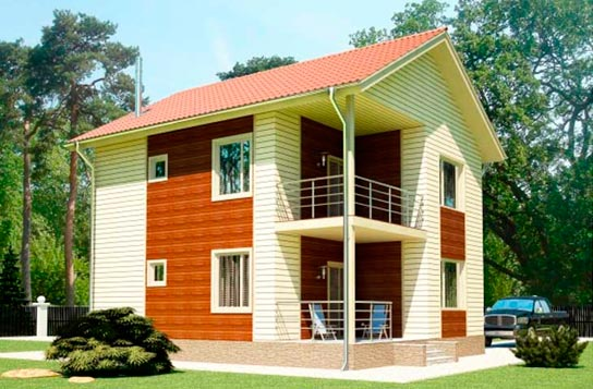 Проект дома из СИП-панелей с угловым балконом ДК№16 Цена: 1045000 руб.
