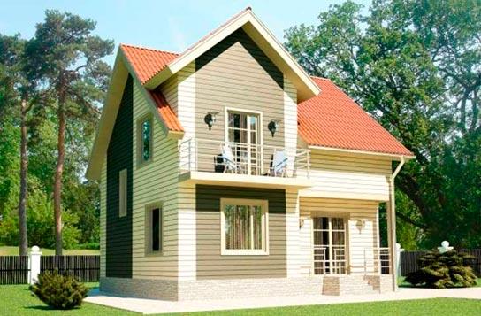 Проект дома каркасного типа с балконом ДК№17 Цена: 1080000 руб.