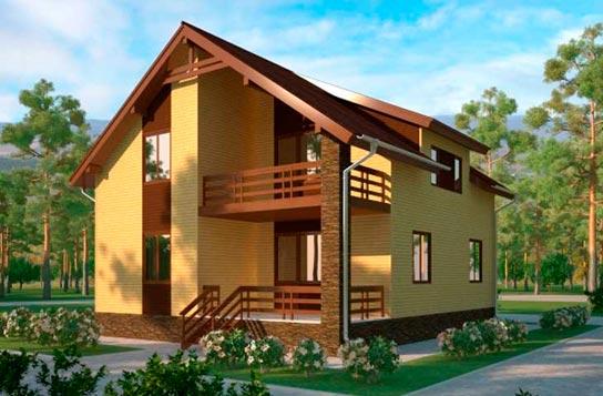 Проект дома каркасного типа с балконом ДК№18 Цена: 1510000 руб.