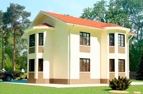 Проект 2-этажного дома каркасного типа ДК№22 Цена: 1736000 руб.