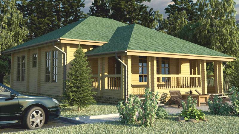 Проект дома с большой верандой ДК11