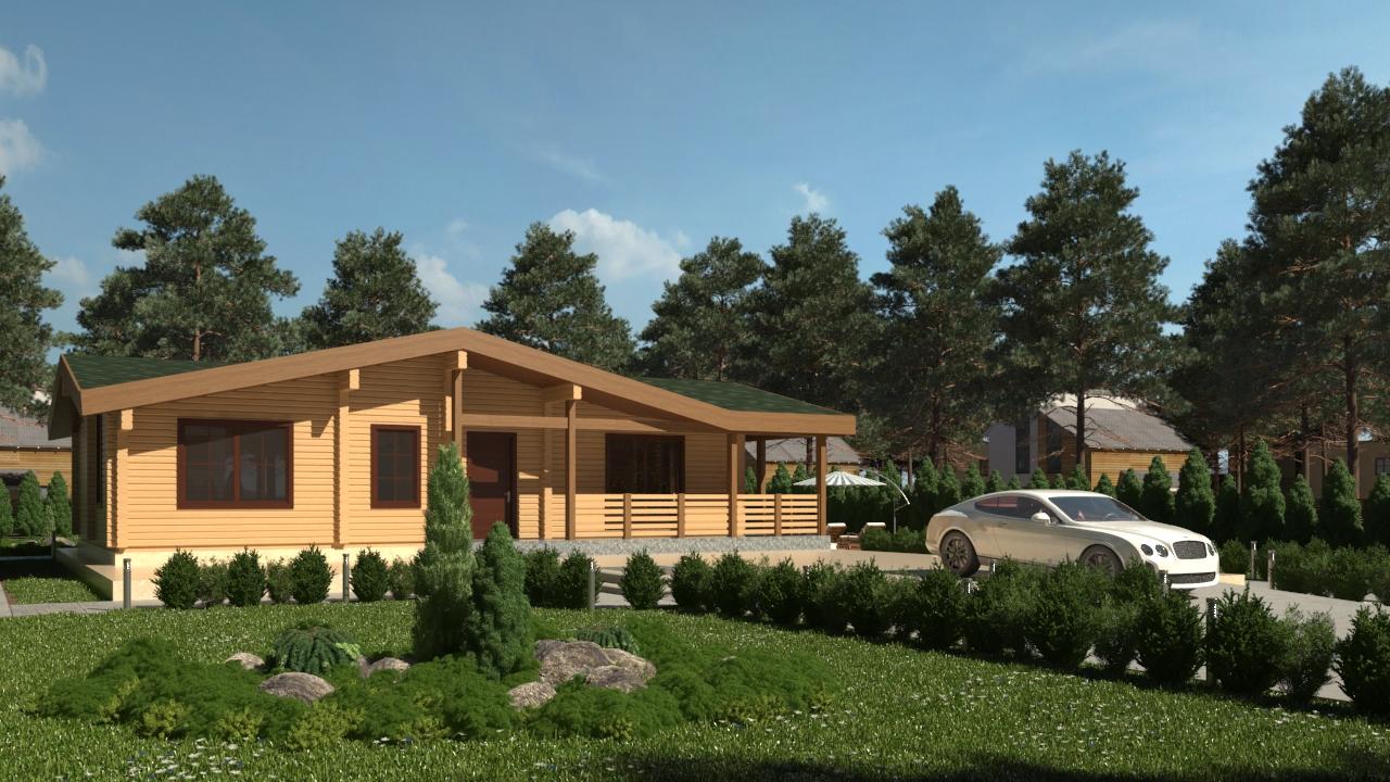 Проект дома с верандой ДК14