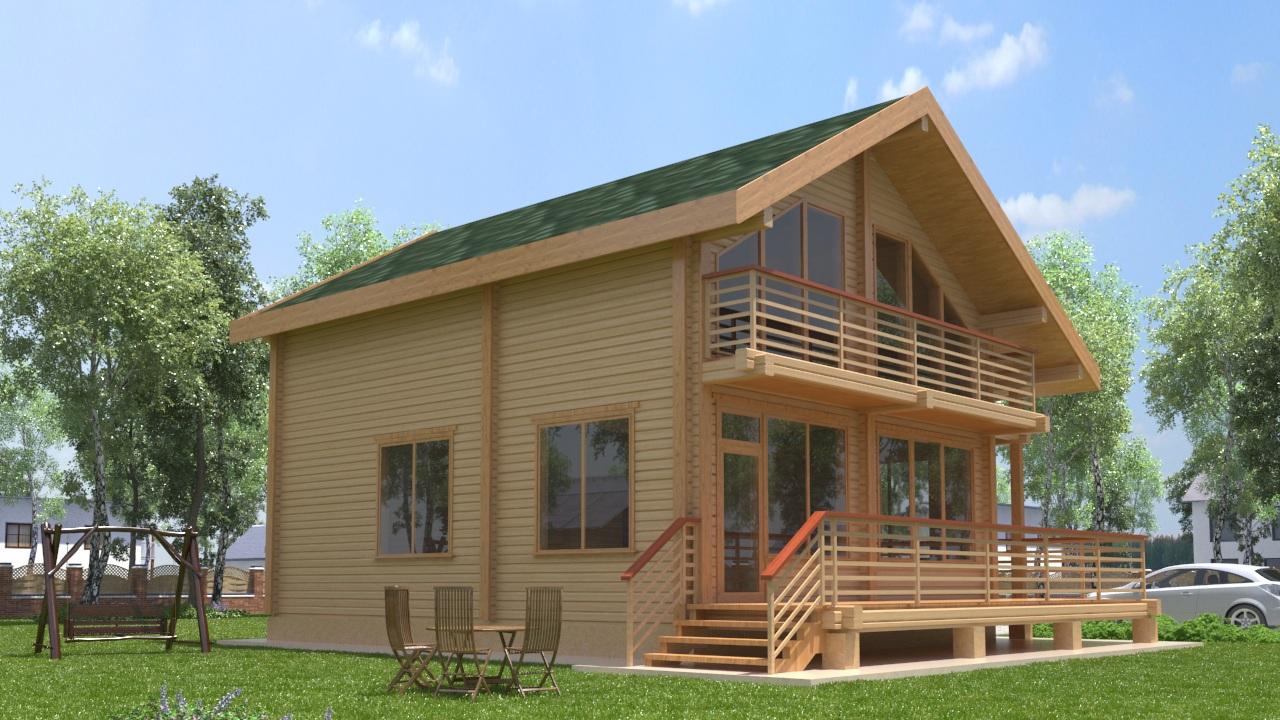 Проект дома с балконом и крыльцом ДК15