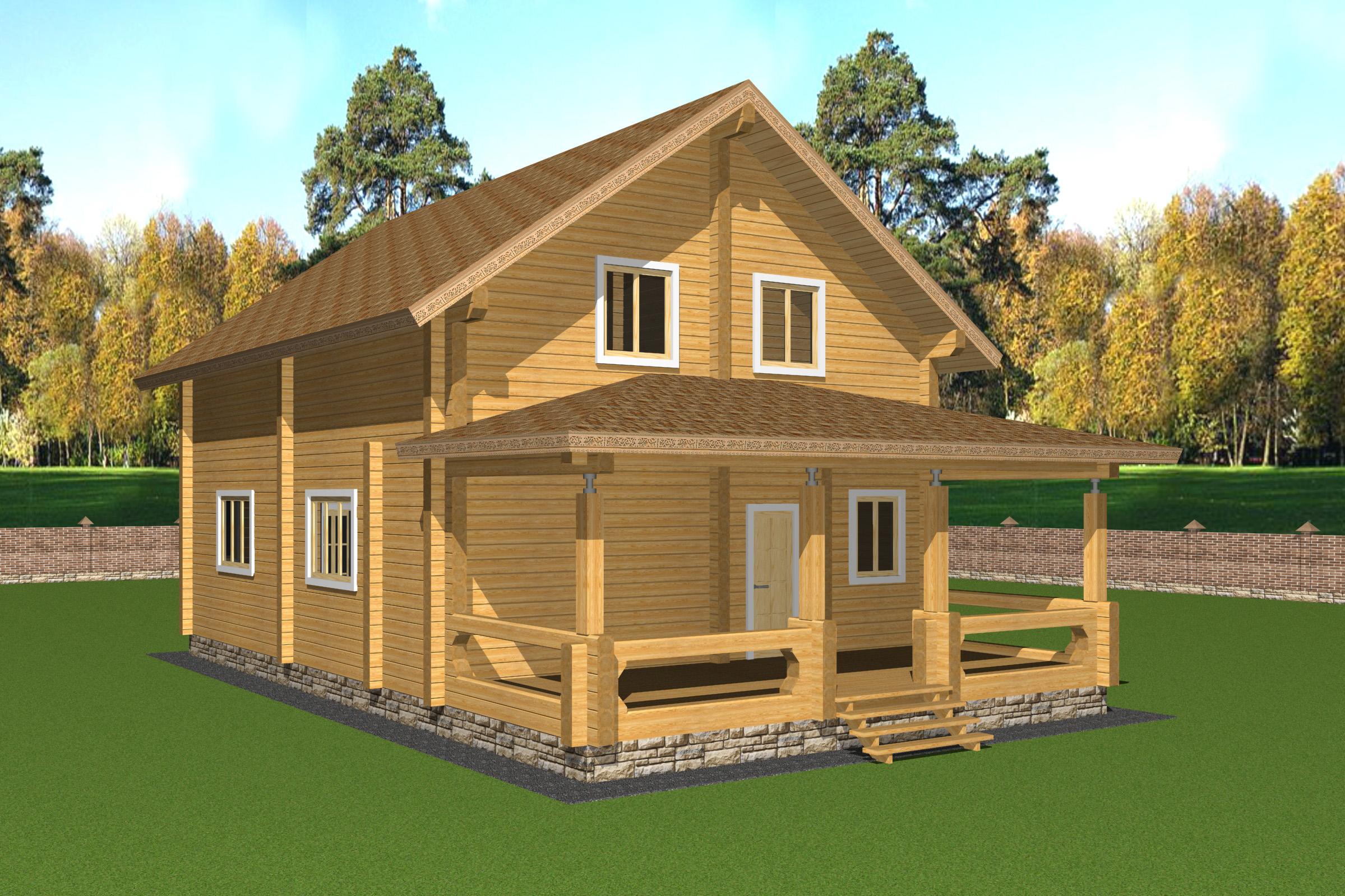 Проект дома из бруса с верандой ДК18