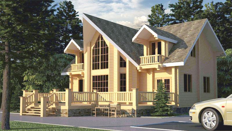 Проект дома с большой верандой и мансардами ДК23