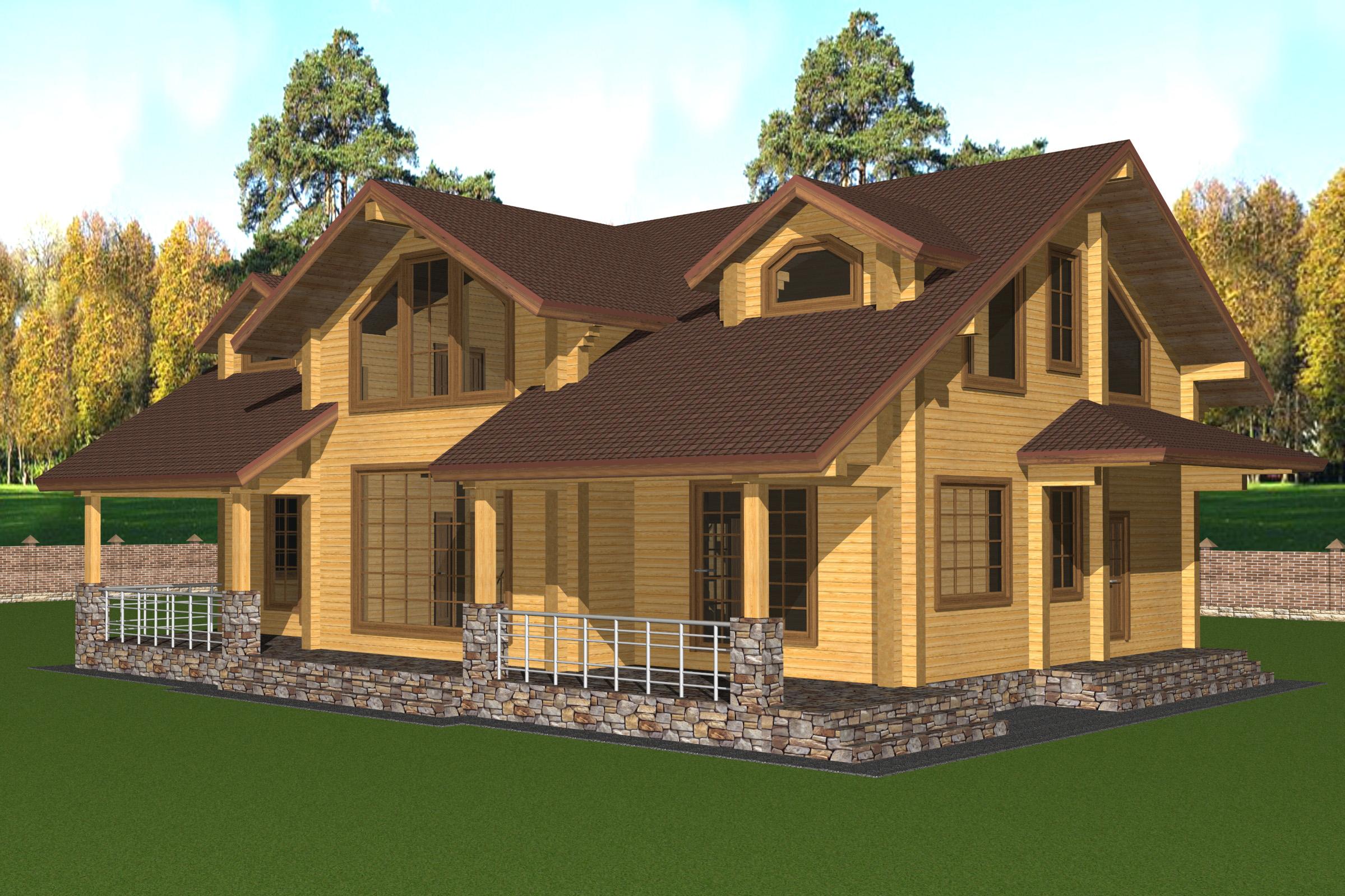 Проект дома из клеёного бруса с мансардами ДК29