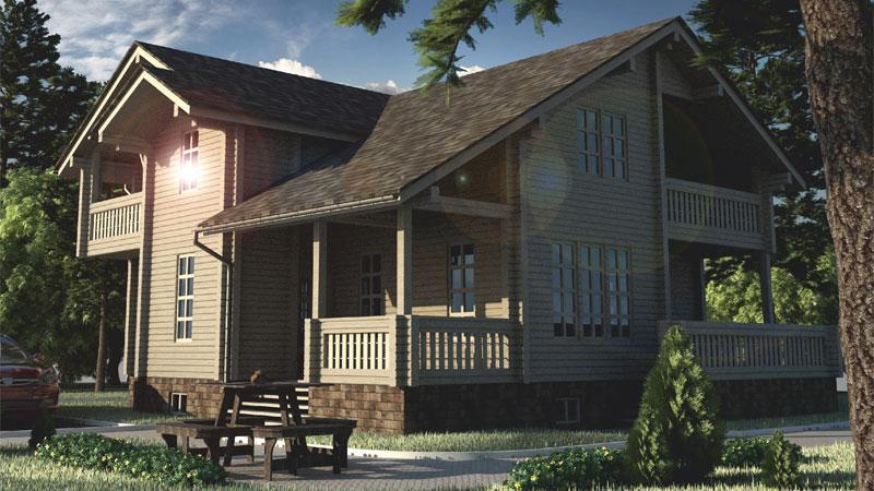 Проект дома с балконами ДК32