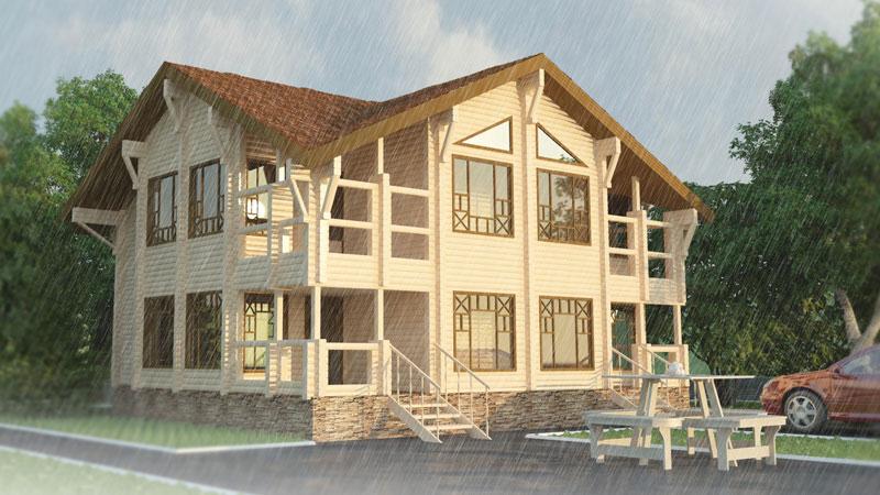 Проект 2-этажного дома с мансардными крышами ДК33