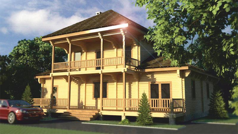 Проект дома с балконом и верандой ДК34