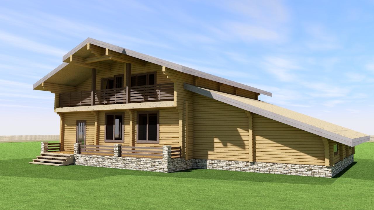 Проект дома с мансардой и балконом ДК36