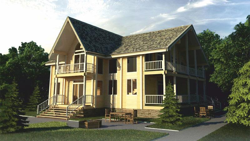 Проект дома с балконами и верандой ДК38