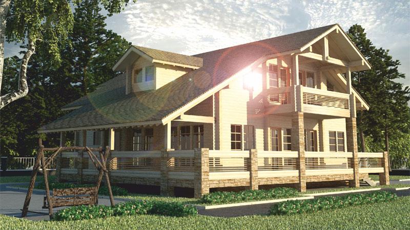 Проект с мансардой, балконом и террасой  ДК39
