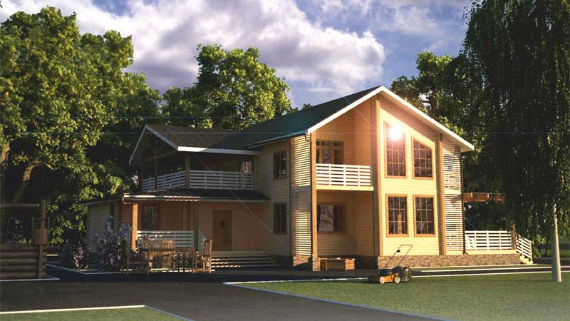 Проект дома с балконом и террасой ДК41