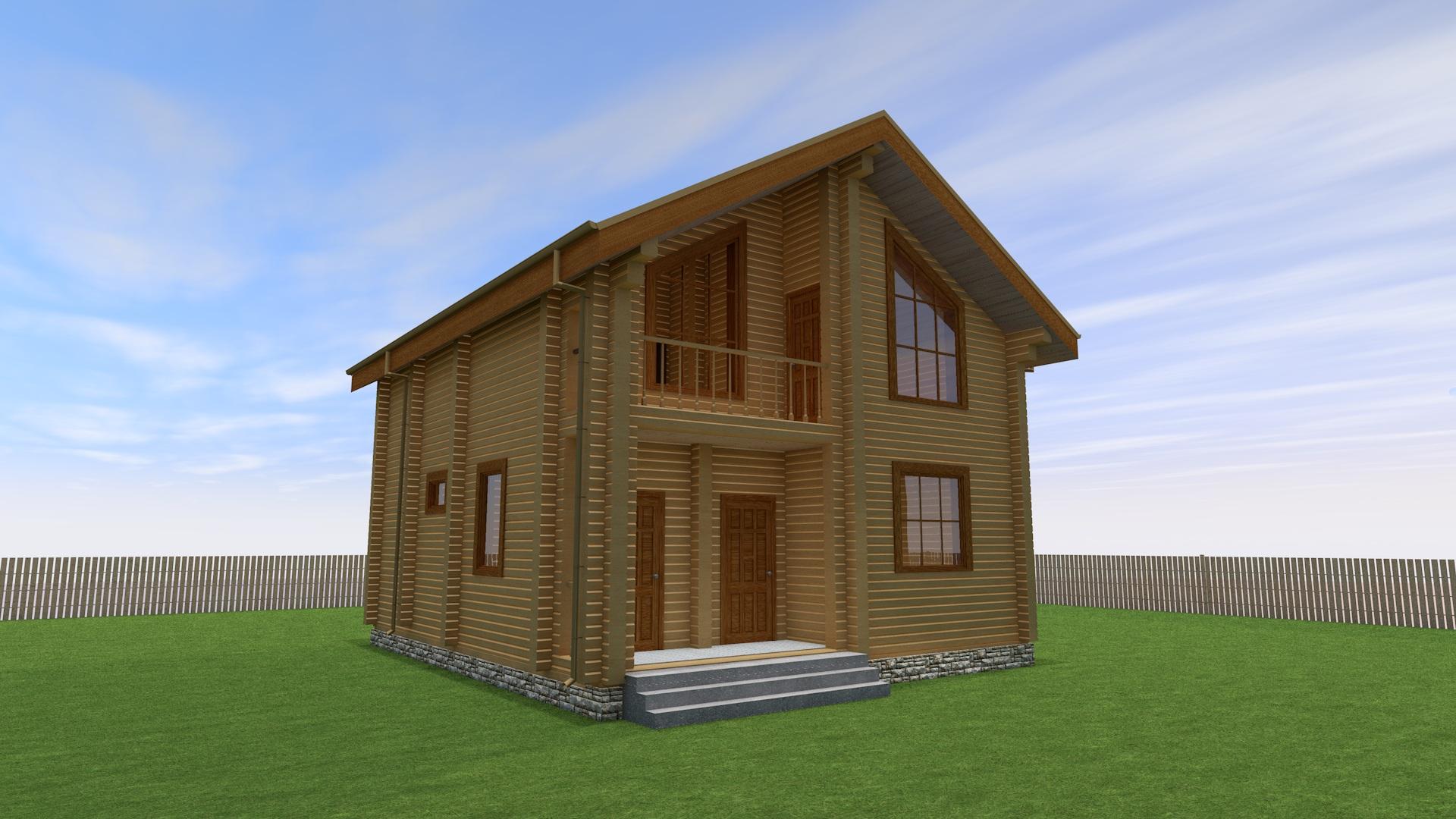 Проект 2-этажного дома из бруса ДК7