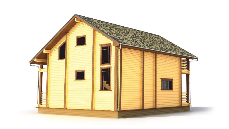 """Проект дома из клееного бруса с мансардой и балконом """"ДК8″"""