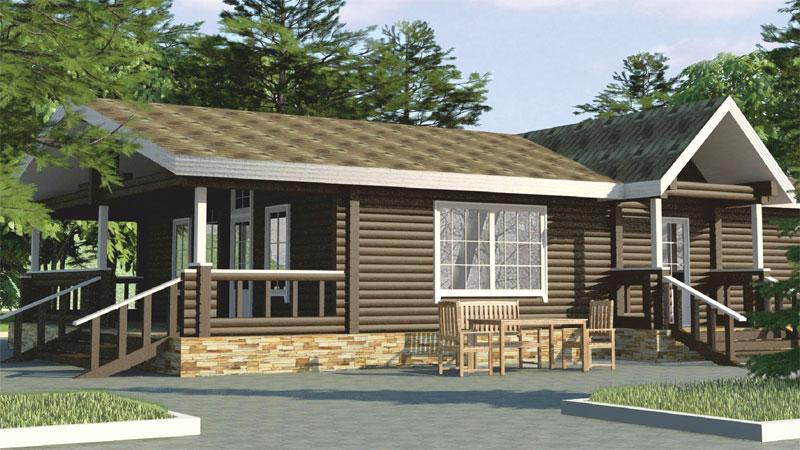 Проект дома  с крыльцом и верандой ДК4