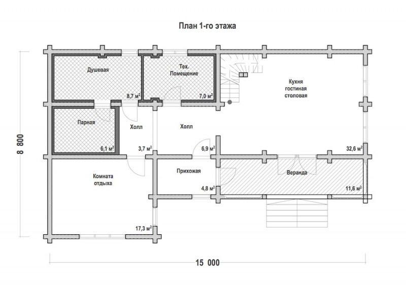 Проект бани из профилированного бруса БП №44