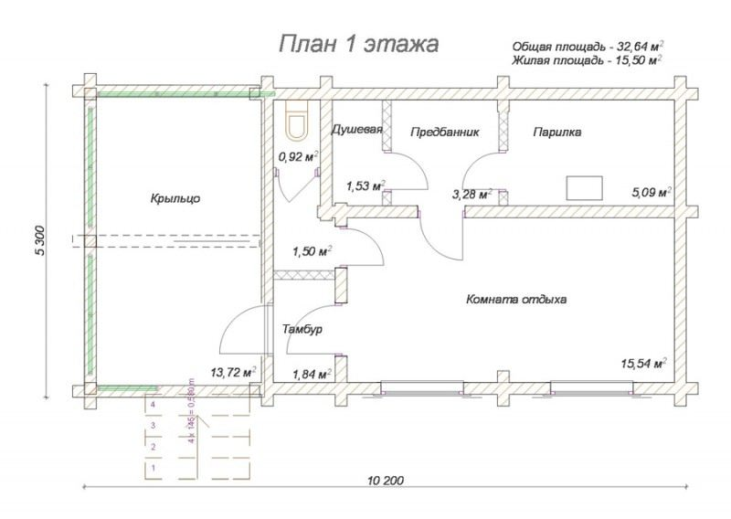 Проект бани из профилированного бруса БП №68