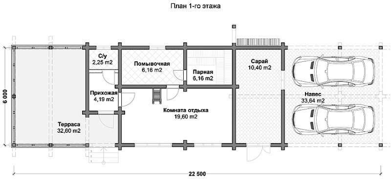 Проект бани из профилированного бруса БП №22